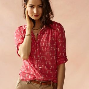 Anthropologie Ismay Button Down in Pink